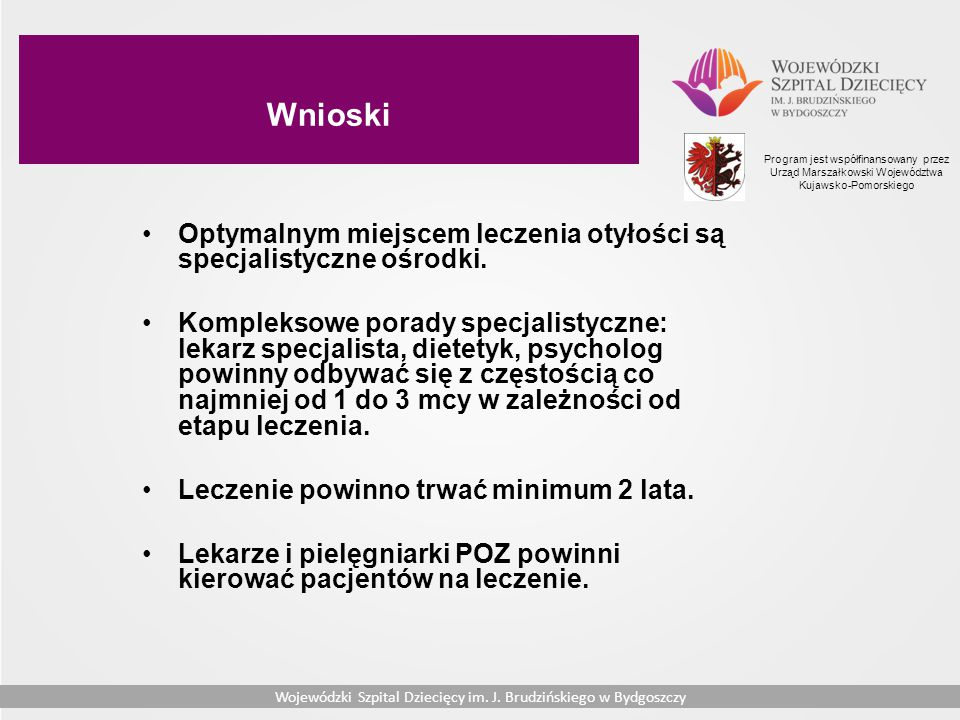 Wnioski Program jest współfinansowany przez Urząd Marszałkowski Województwa Kujawsko-Pomorskiego.