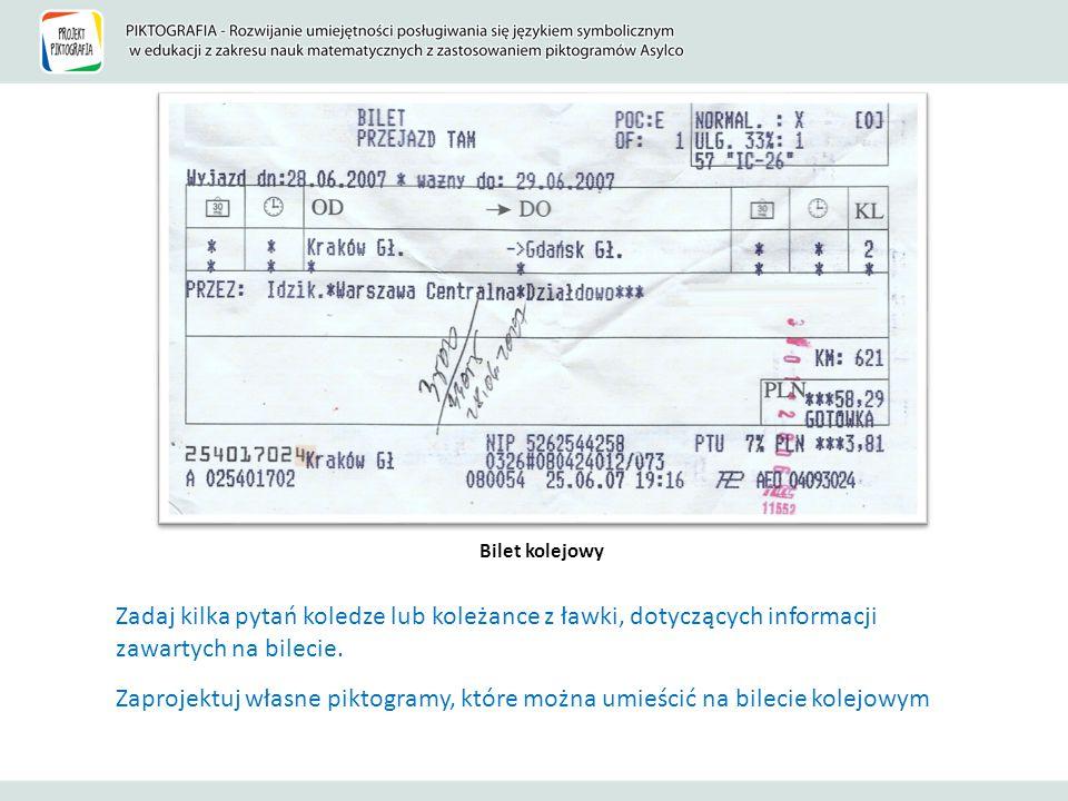 Bilet kolejowy Zadaj kilka pytań koledze lub koleżance z ławki, dotyczących informacji zawartych na bilecie.