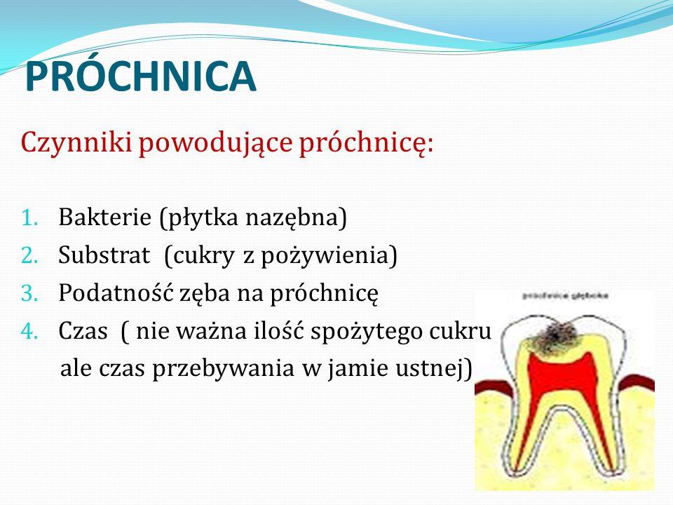 PRÓCHNICA Czynniki powodujące próchnicę: Bakterie (płytka nazębna)