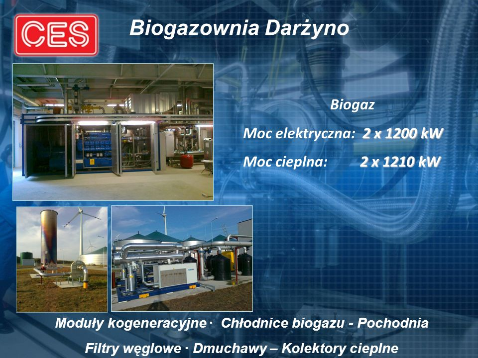 Biogazownia Darżyno Biogaz Moc elektryczna: 2 x 1200 kW