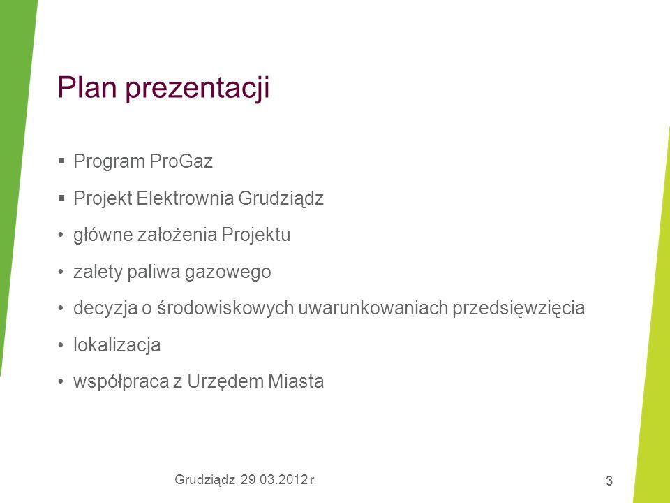 Plan prezentacji Program ProGaz Projekt Elektrownia Grudziądz