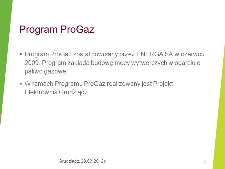 Program ProGaz Program ProGaz został powołany przez ENERGA SA w czerwcu 2009. Program zakłada budowę mocy wytwórczych w oparciu o paliwo gazowe.
