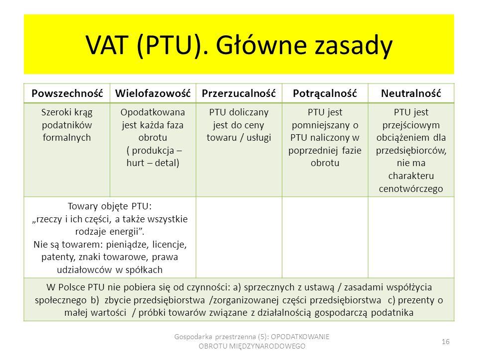 VAT (PTU). Główne zasady
