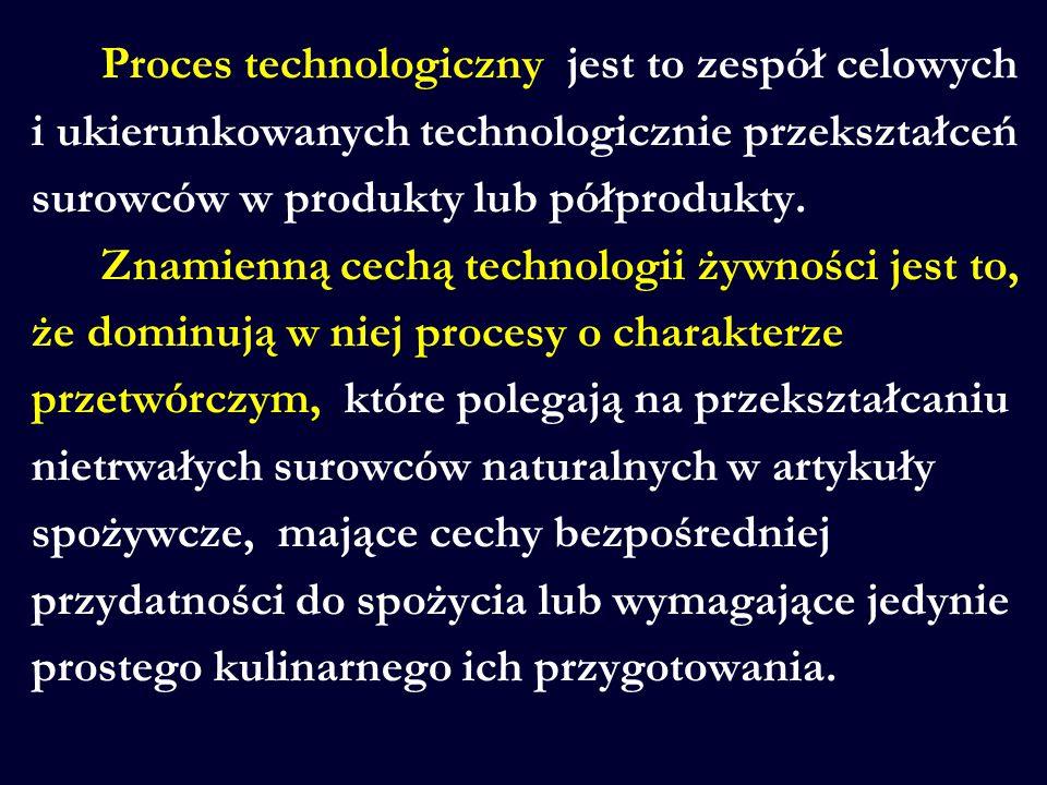 Proces technologiczny jest to zespół celowych i ukierunkowanych technologicznie przekształceń surowców w produkty lub półprodukty.