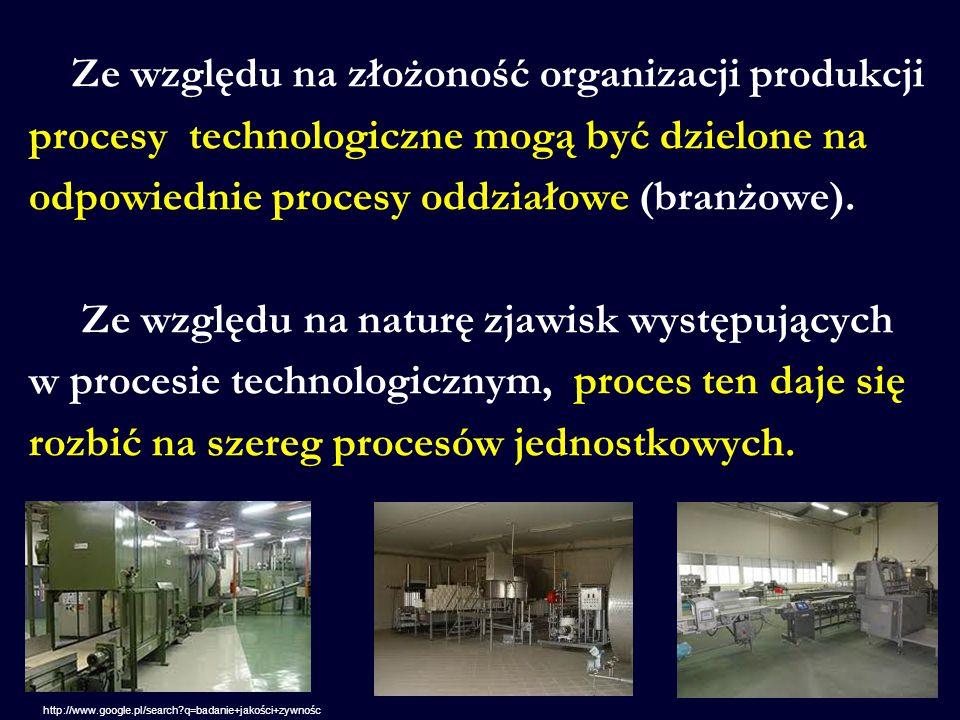 Ze względu na złożoność organizacji produkcji procesy technologiczne mogą być dzielone na odpowiednie procesy oddziałowe (branżowe). Ze względu na naturę zjawisk występujących w procesie technologicznym, proces ten daje się rozbić na szereg procesów jednostkowych.
