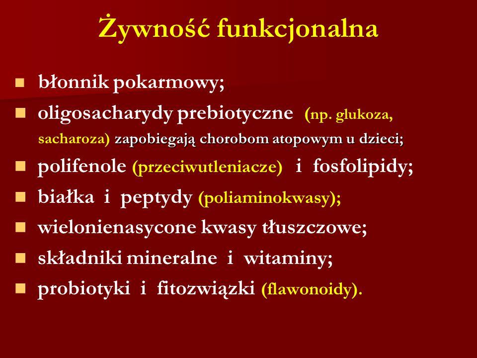 Żywność funkcjonalna oligosacharydy prebiotyczne (np. glukoza,
