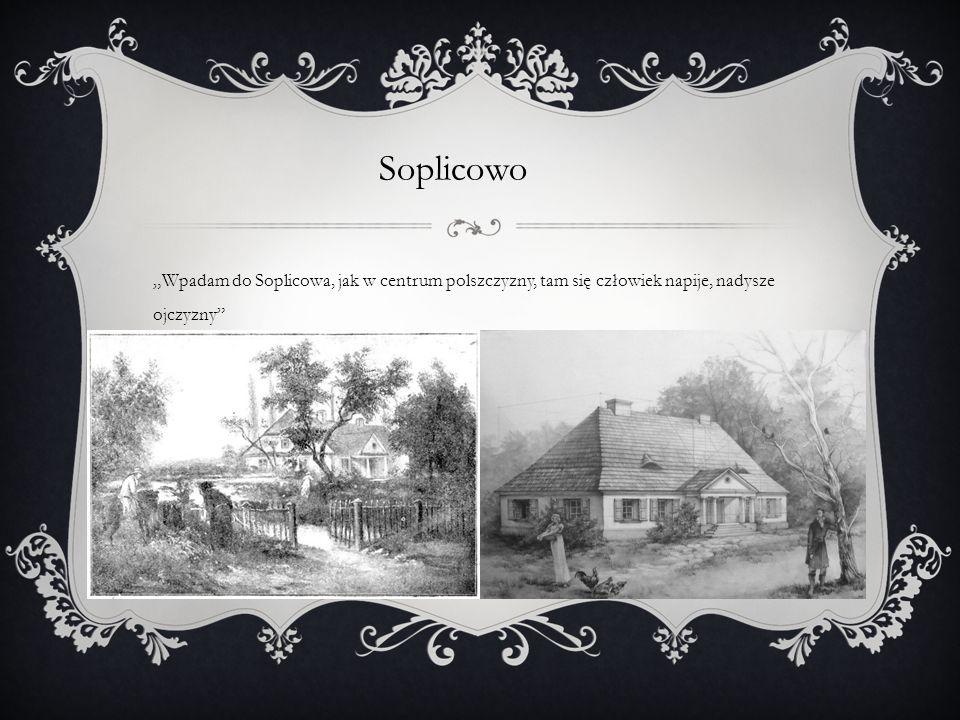 """Soplicowo """"Wpadam do Soplicowa, jak w centrum polszczyzny, tam się człowiek napije, nadysze ojczyzny"""