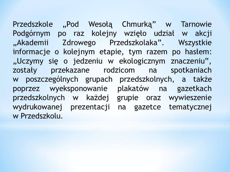 """Przedszkole """"Pod Wesołą Chmurką w Tarnowie Podgórnym po raz kolejny wzięło udział w akcji """"Akademii Zdrowego Przedszkolaka ."""