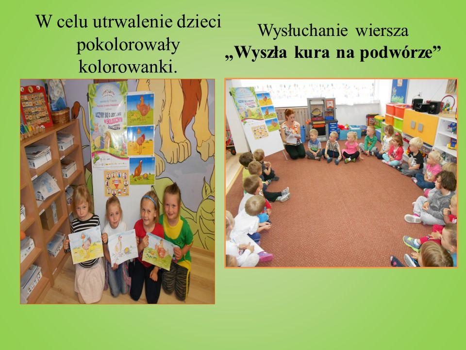 W celu utrwalenie dzieci pokolorowały kolorowanki.