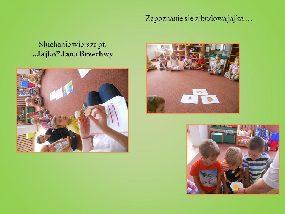 """Słuchanie wiersza pt. """"Jajko Jana Brzechwy"""