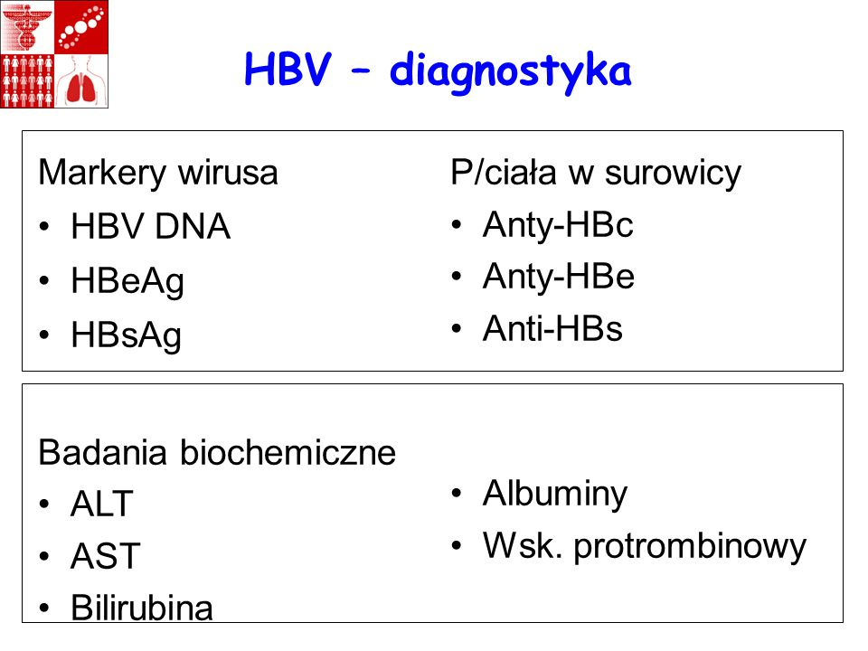 HBV – diagnostyka Markery wirusa HBV DNA HBeAg HBsAg