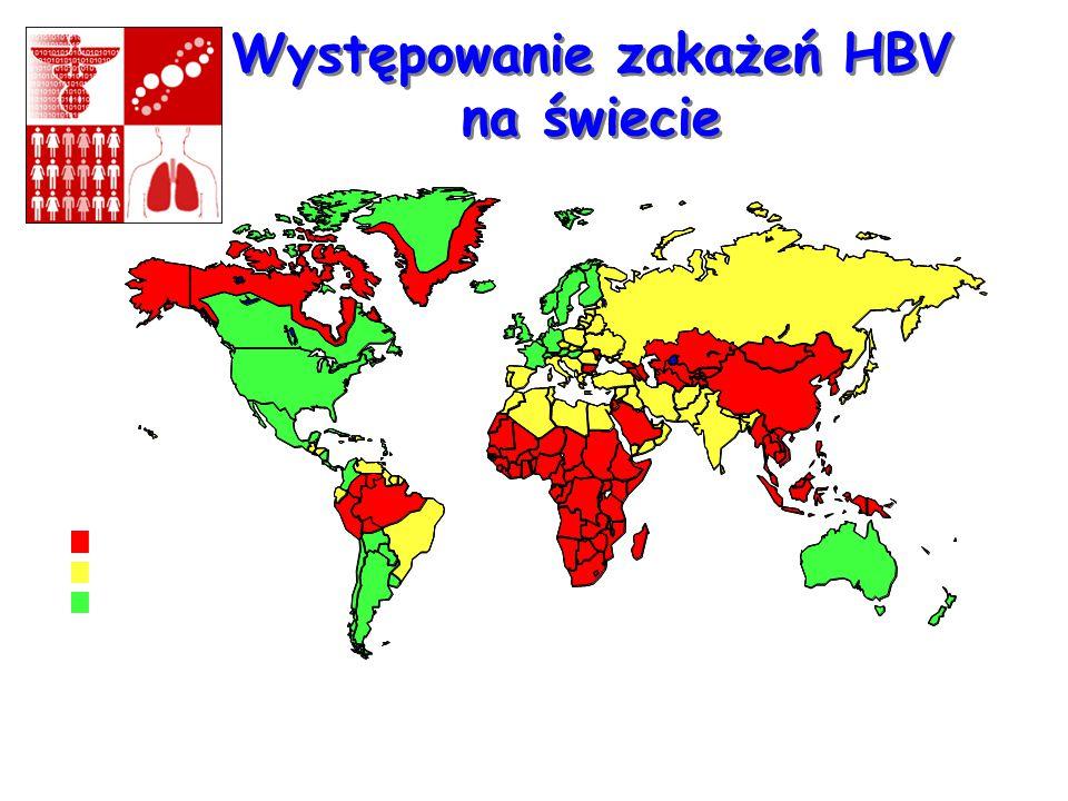 Występowanie zakażeń HBV na świecie