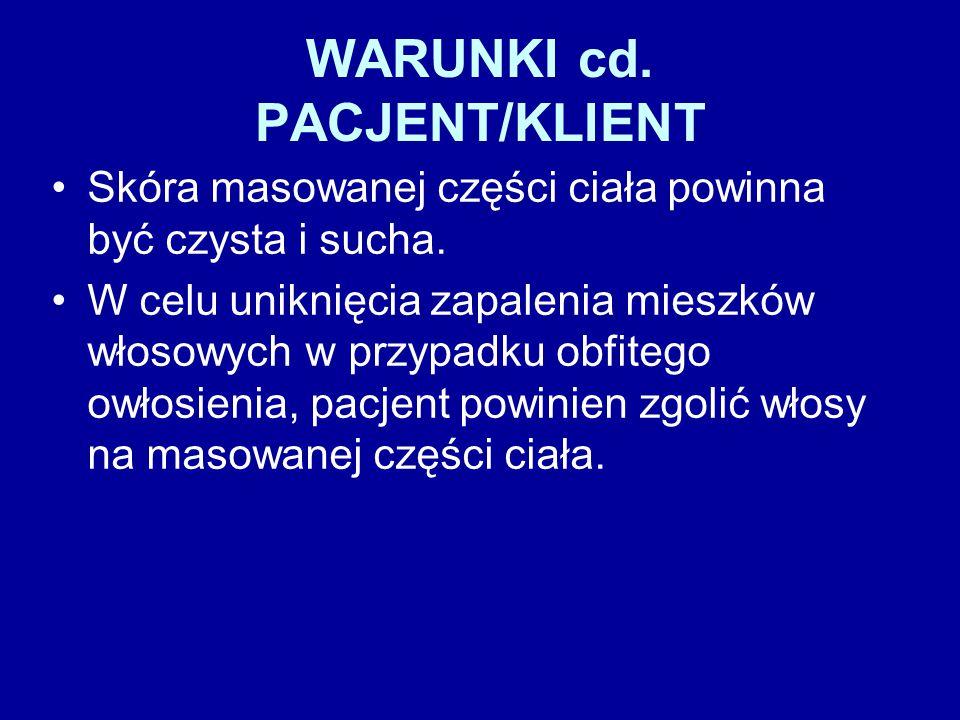 WARUNKI cd. PACJENT/KLIENT