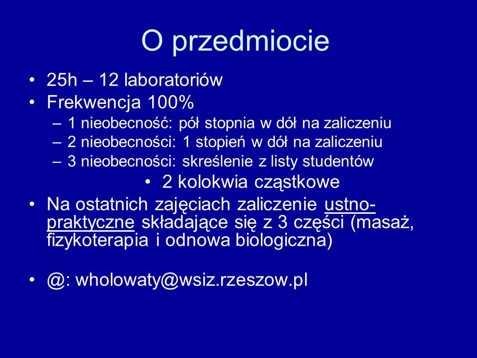 O przedmiocie 25h – 12 laboratoriów Frekwencja 100%
