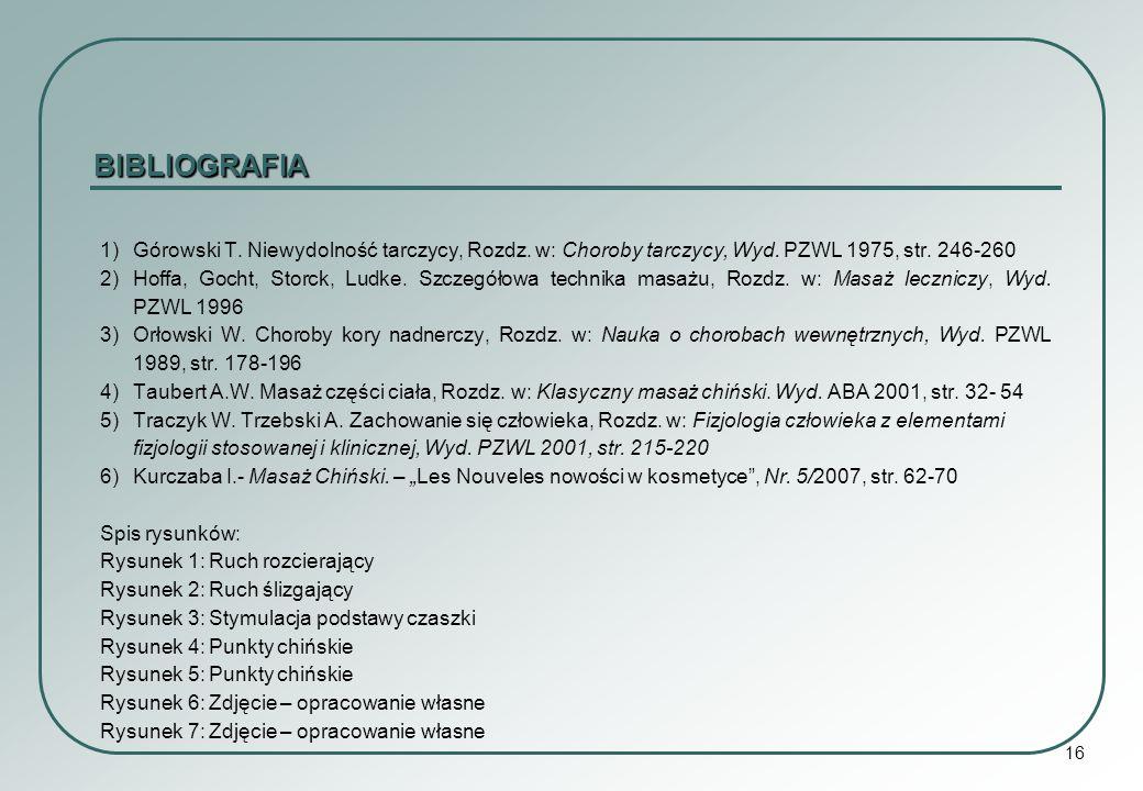 BIBLIOGRAFIA 1) Górowski T. Niewydolność tarczycy, Rozdz. w: Choroby tarczycy, Wyd. PZWL 1975, str. 246-260.