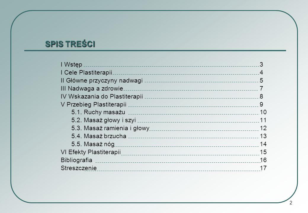SPIS TREŚCI I Wstęp 3 I Cele Plastiterapii 4