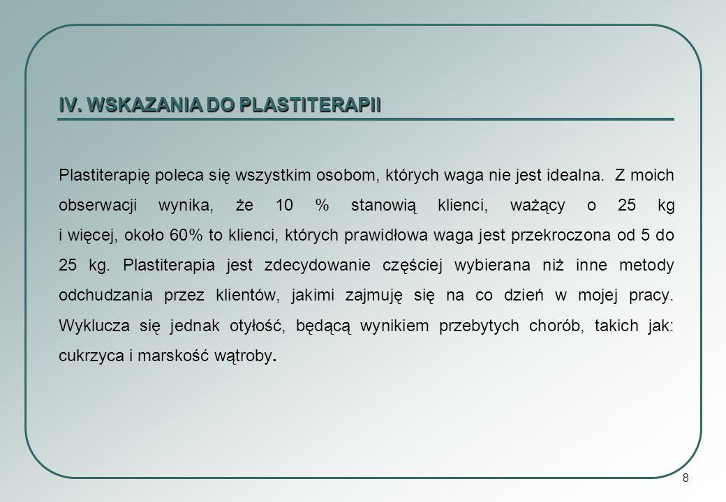 IV. WSKAZANIA DO PLASTITERAPII