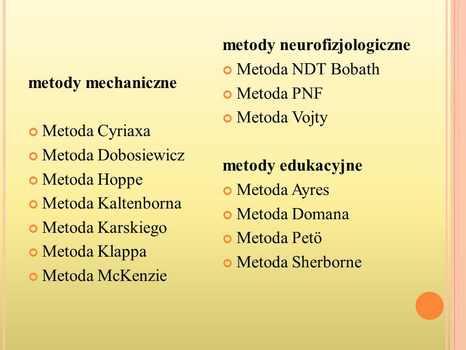metody mechaniczne Metoda Cyriaxa. Metoda Dobosiewicz. Metoda Hoppe. Metoda Kaltenborna. Metoda Karskiego.