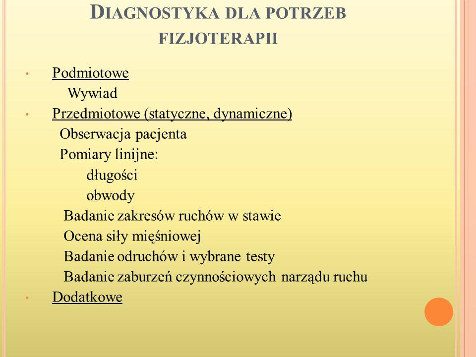 Diagnostyka dla potrzeb fizjoterapii