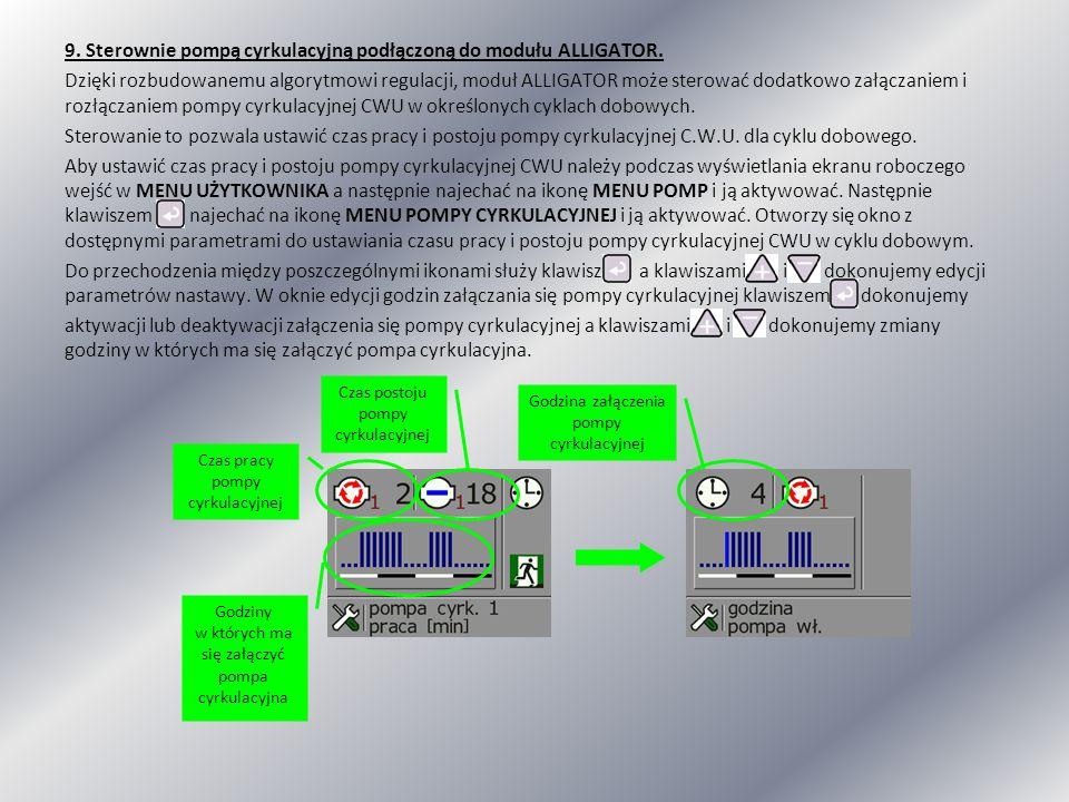 9. Sterownie pompą cyrkulacyjną podłączoną do modułu ALLIGATOR