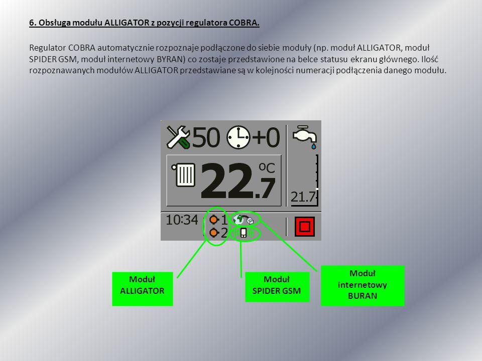 6. Obsługa modułu ALLIGATOR z pozycji regulatora COBRA