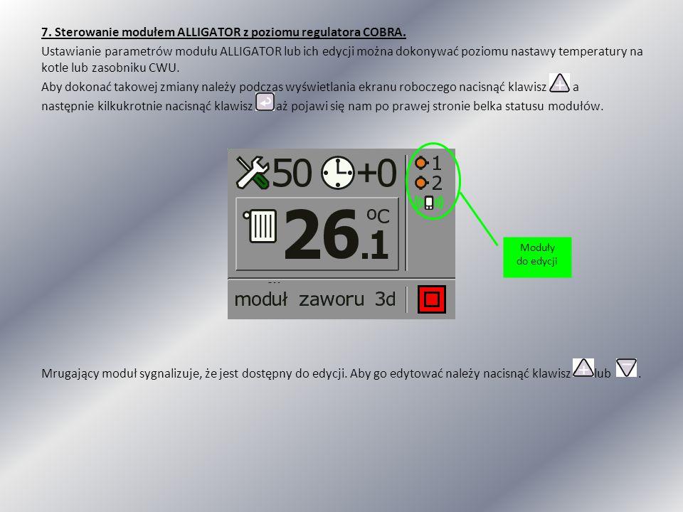 7. Sterowanie modułem ALLIGATOR z poziomu regulatora COBRA
