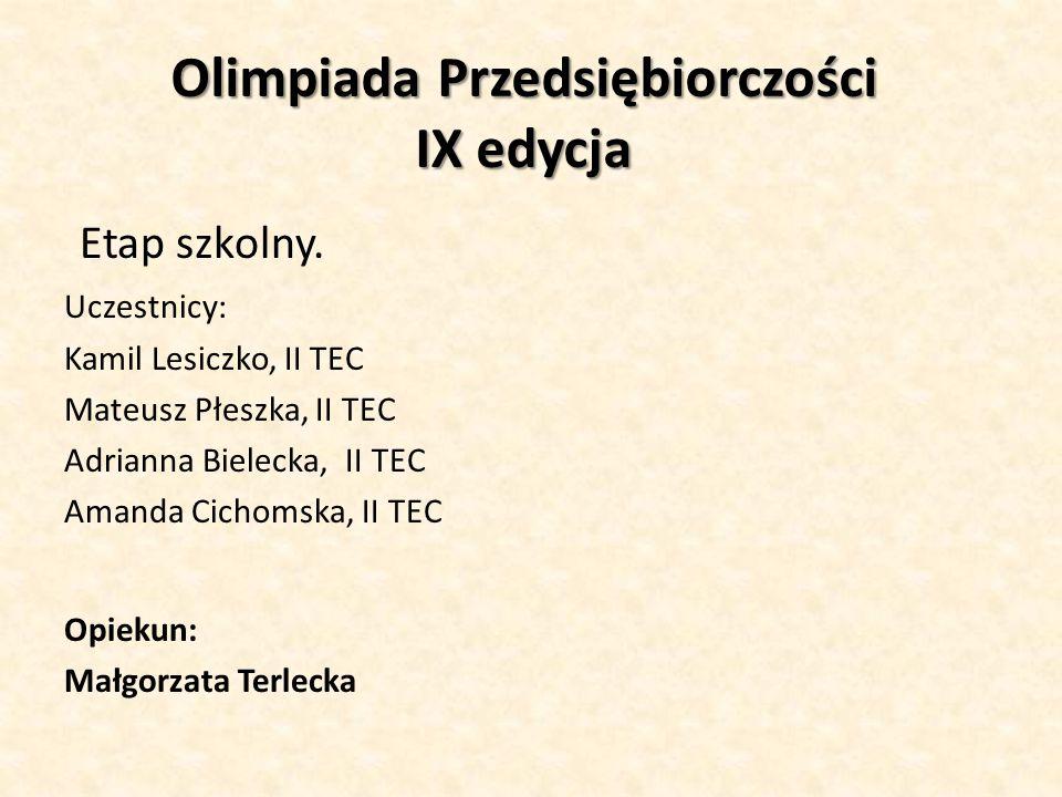 Olimpiada Przedsiębiorczości IX edycja