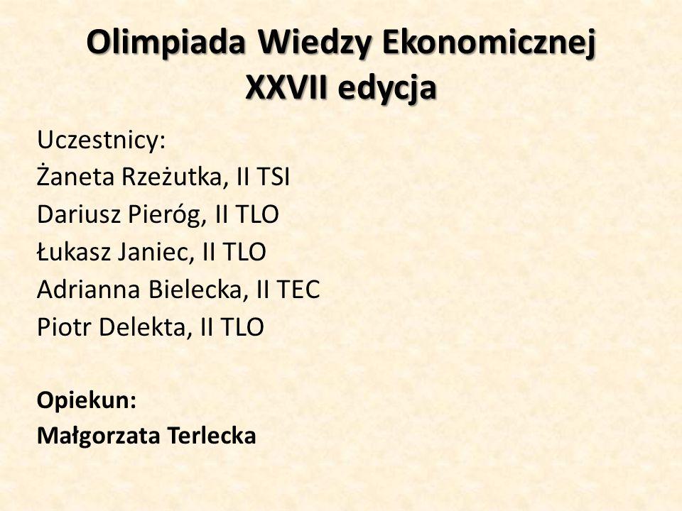 Olimpiada Wiedzy Ekonomicznej XXVII edycja
