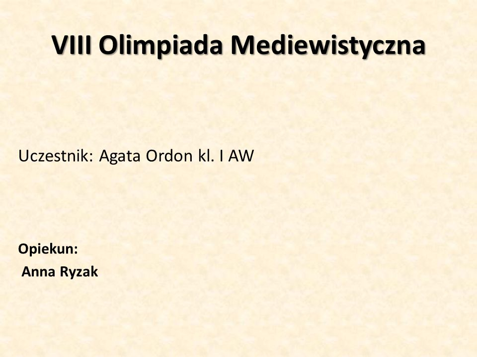 VIII Olimpiada Mediewistyczna