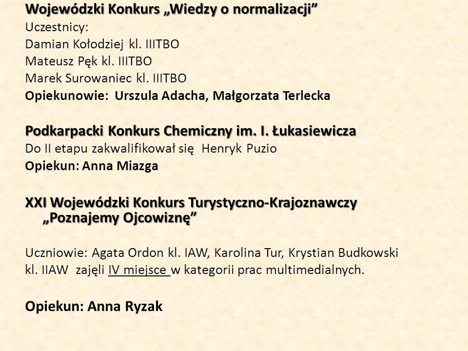 """Wojewódzki Konkurs """"Wiedzy o normalizacji"""