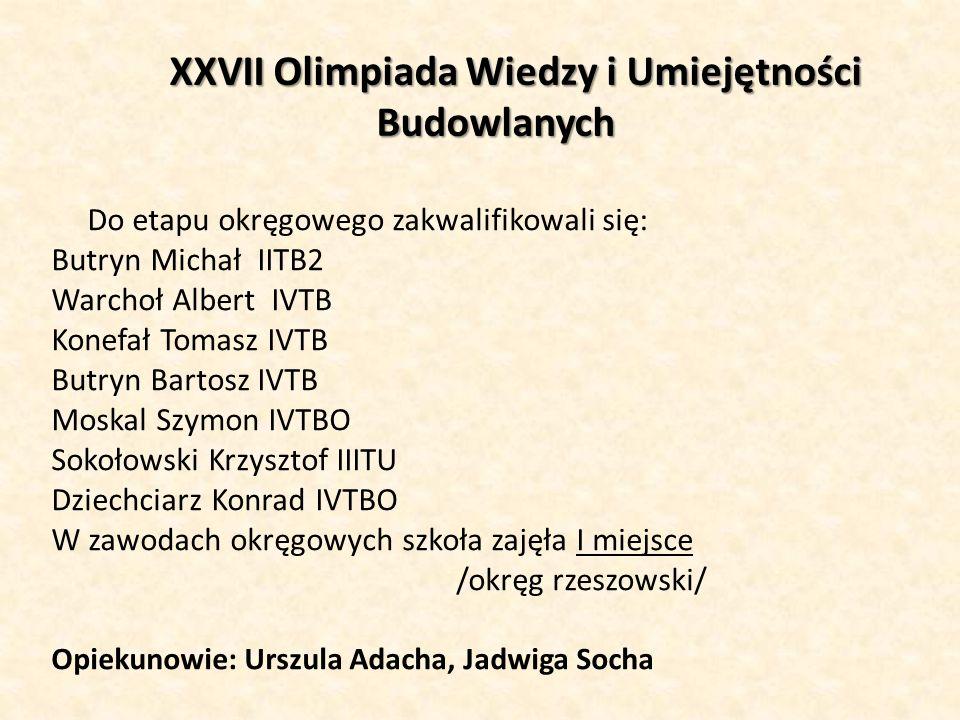 XXVII Olimpiada Wiedzy i Umiejętności Budowlanych