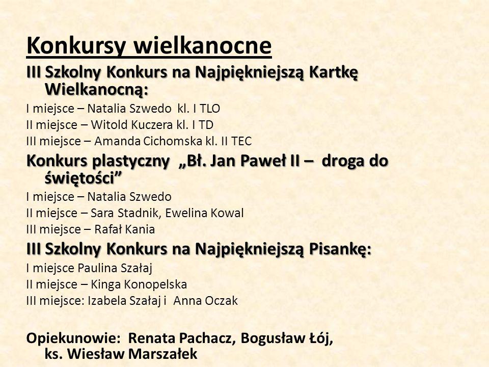 Konkursy wielkanocne III Szkolny Konkurs na Najpiękniejszą Kartkę Wielkanocną: I miejsce – Natalia Szwedo kl. I TLO.