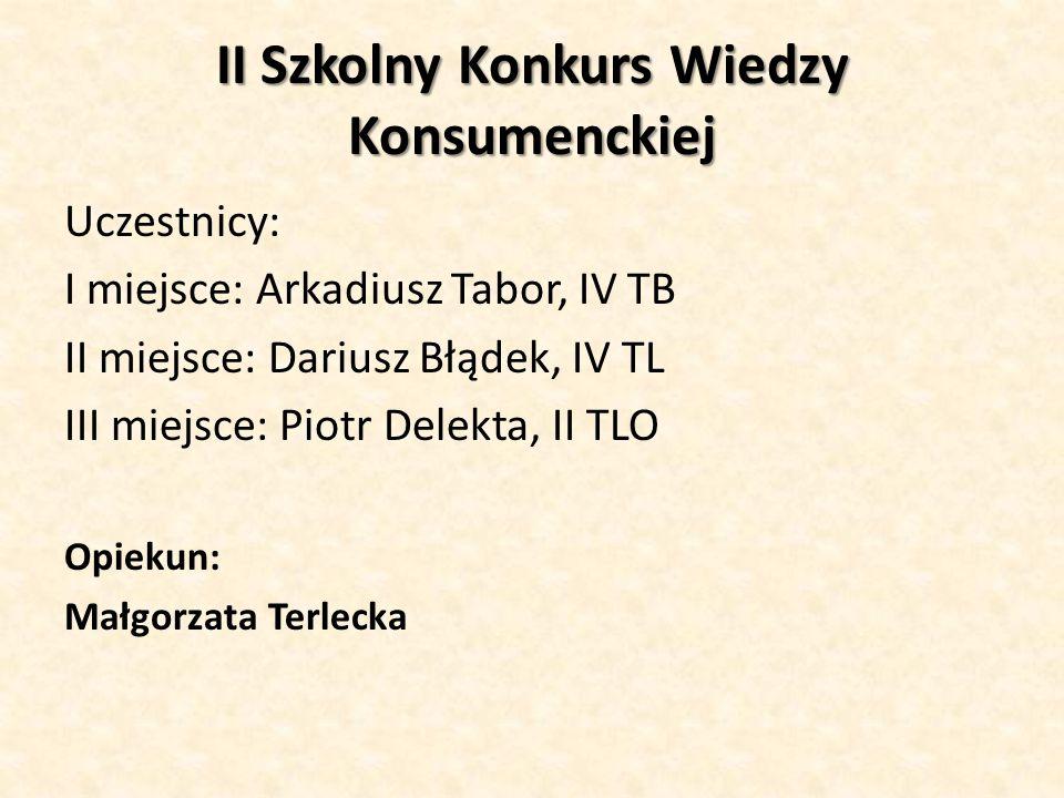 II Szkolny Konkurs Wiedzy Konsumenckiej