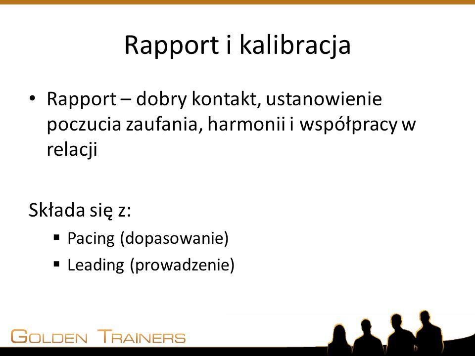 Rapport i kalibracja Rapport – dobry kontakt, ustanowienie poczucia zaufania, harmonii i współpracy w relacji.