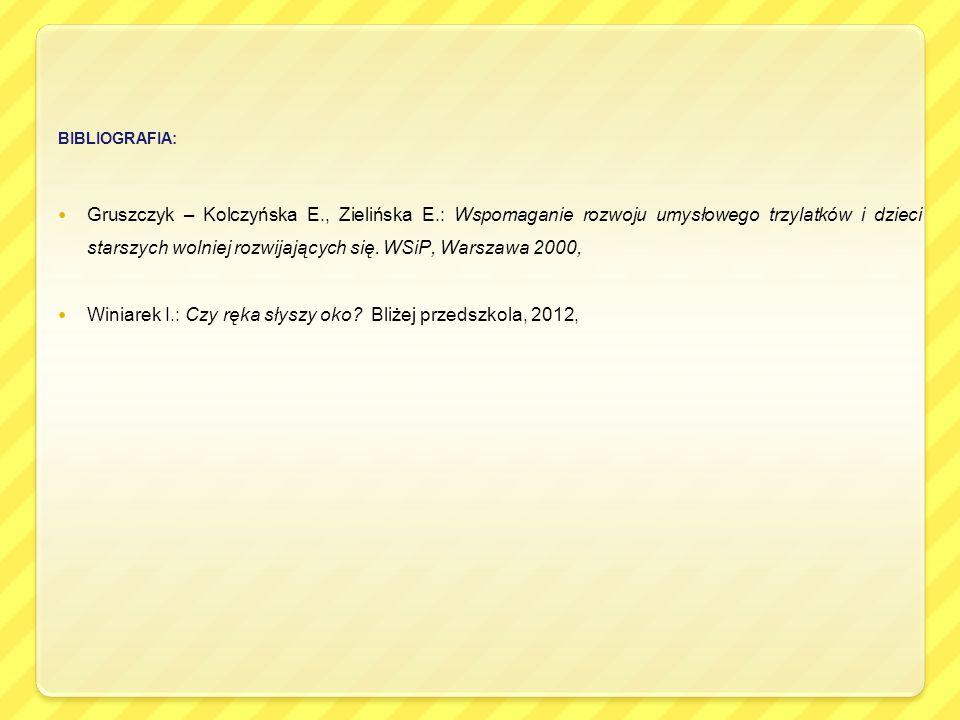 Winiarek I.: Czy ręka słyszy oko Bliżej przedszkola, 2012,