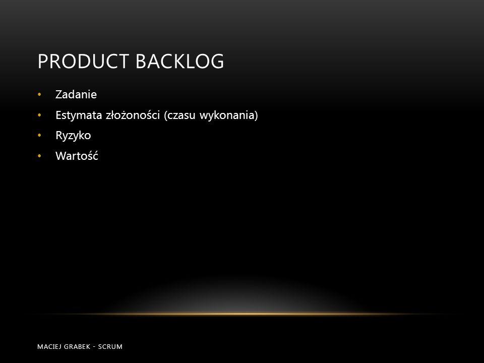 Product Backlog Zadanie Estymata złożoności (czasu wykonania) Ryzyko
