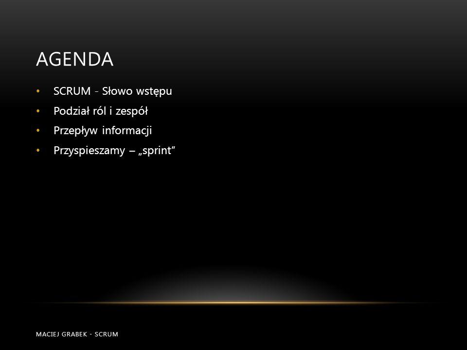 AGENDA SCRUM - Słowo wstępu Podział ról i zespół Przepływ informacji