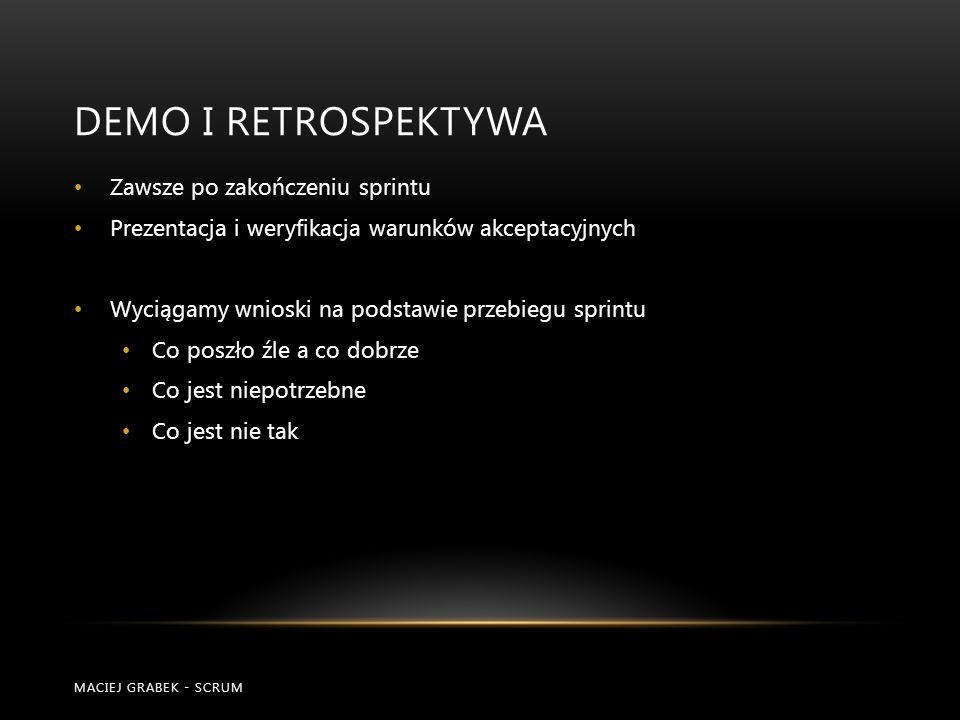 Demo i RETROSPEKTYWA Zawsze po zakończeniu sprintu