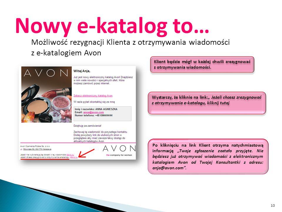 Nowy e-katalog to… Możliwość rezygnacji Klienta z otrzymywania wiadomości. z e-katalogiem Avon.