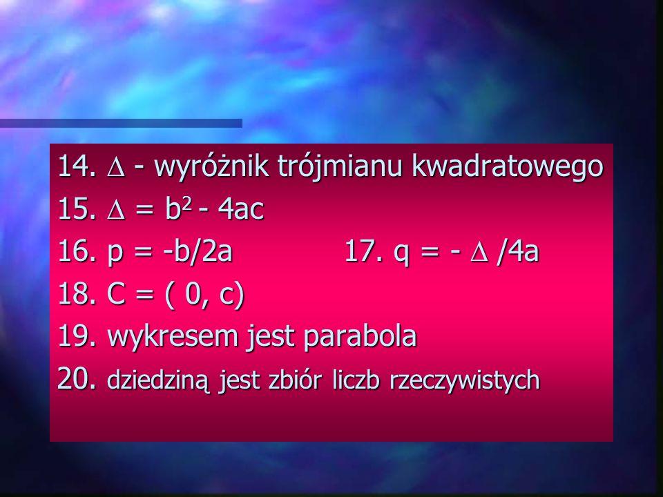 14.  - wyróżnik trójmianu kwadratowego