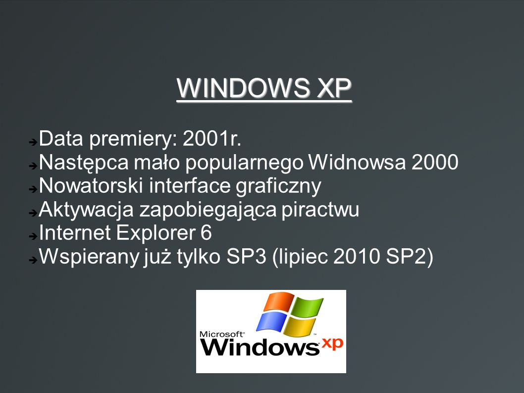 WINDOWS XP Data premiery: 2001r.