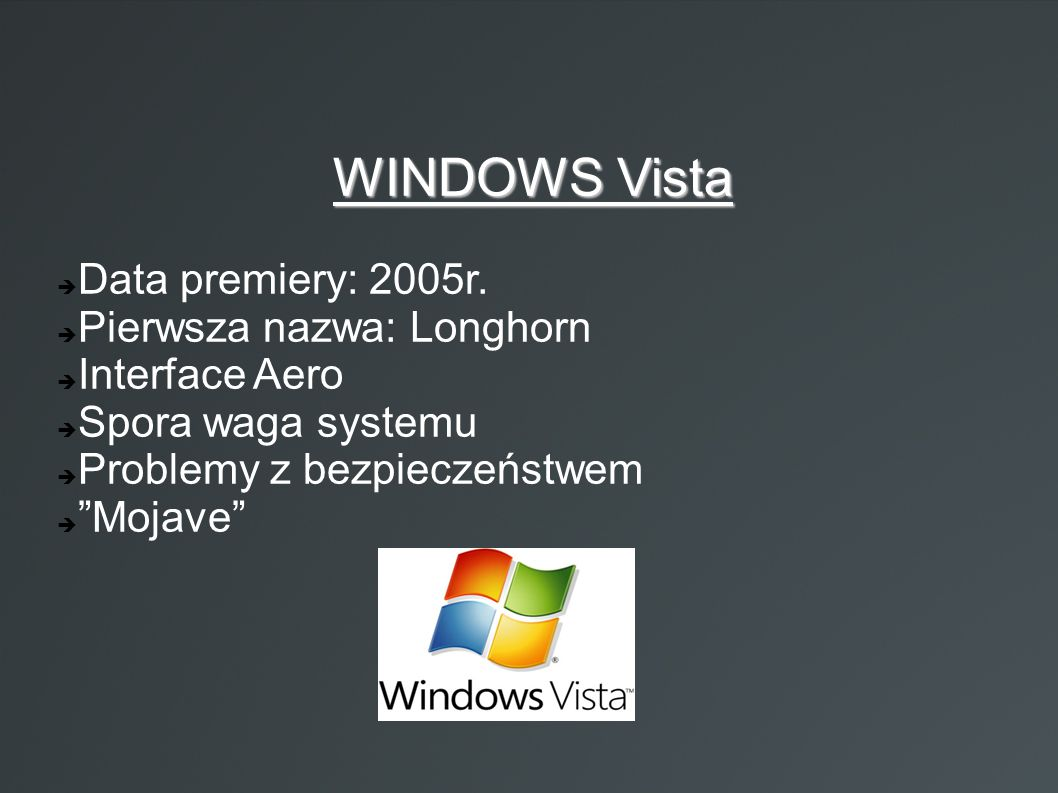 WINDOWS Vista Data premiery: 2005r. Pierwsza nazwa: Longhorn