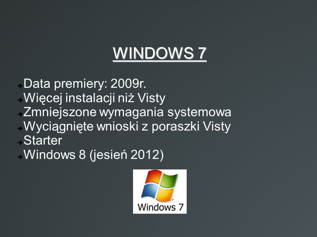 WINDOWS 7 Data premiery: 2009r. Więcej instalacji niż Visty