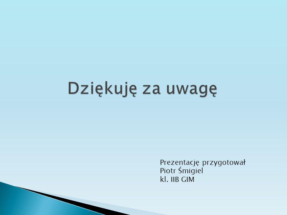 Dziękuję za uwagę Prezentację przygotował Piotr Śmigiel kl. IIB GIM