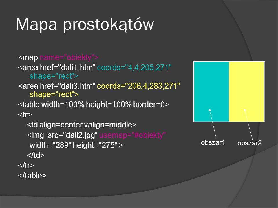 Mapa prostokątów <map name= obiekty >