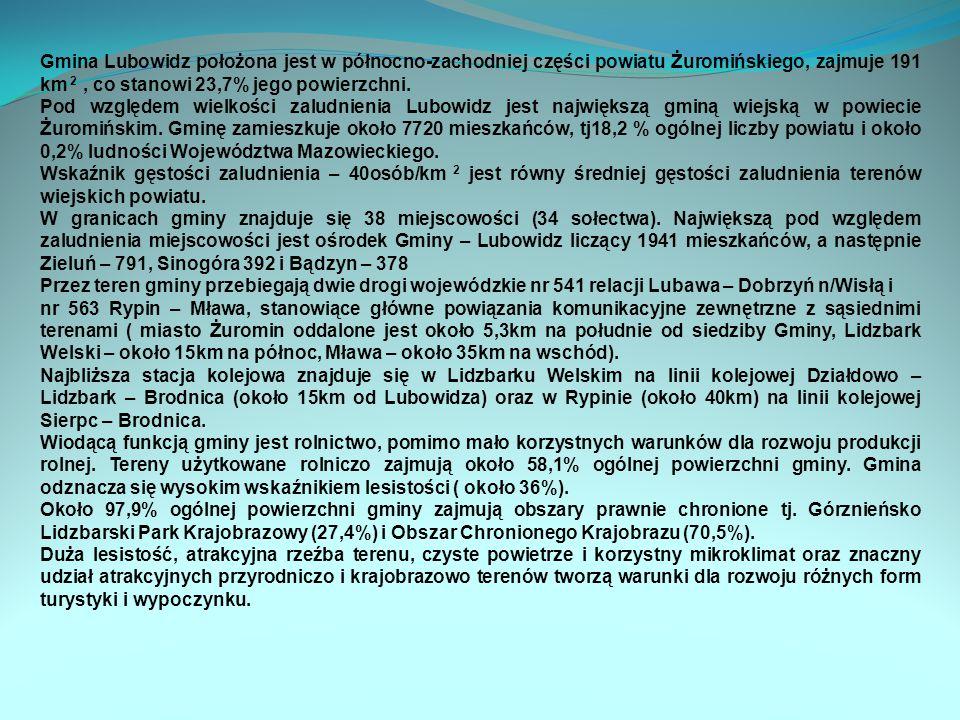 Gmina Lubowidz położona jest w północno-zachodniej części powiatu Żuromińskiego, zajmuje 191 km 2 , co stanowi 23,7% jego powierzchni.