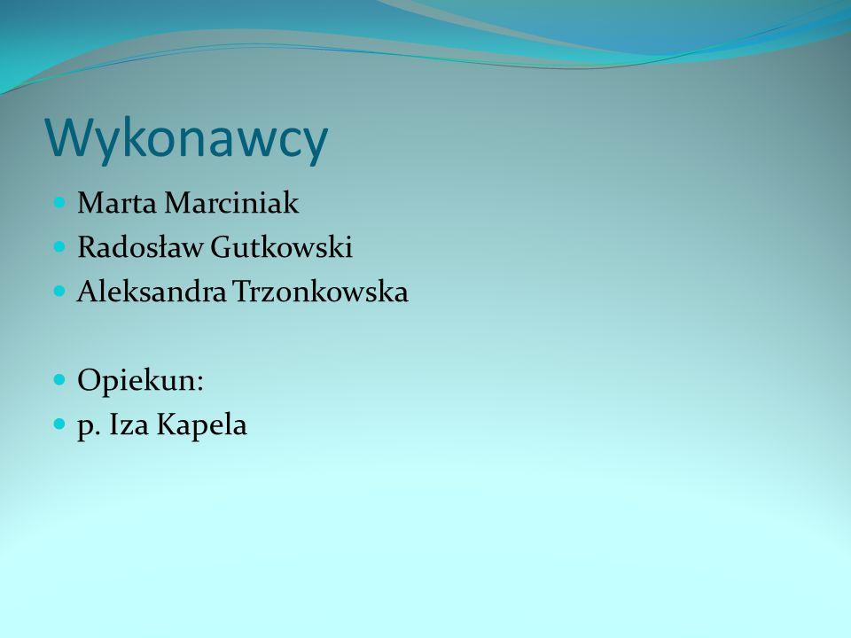 Wykonawcy Marta Marciniak Radosław Gutkowski Aleksandra Trzonkowska
