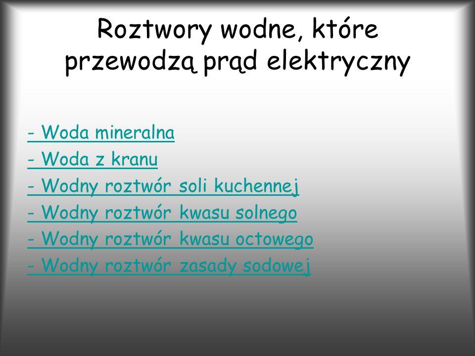 Roztwory wodne, które przewodzą prąd elektryczny