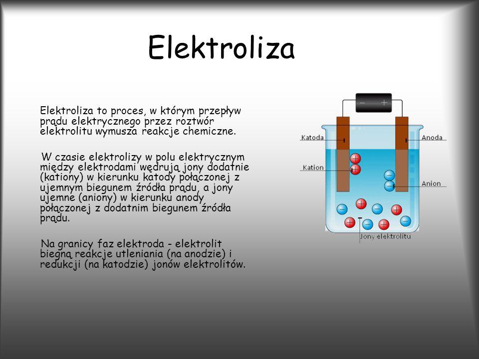 Elektroliza Elektroliza to proces, w którym przepływ prądu elektrycznego przez roztwór elektrolitu wymusza reakcje chemiczne.