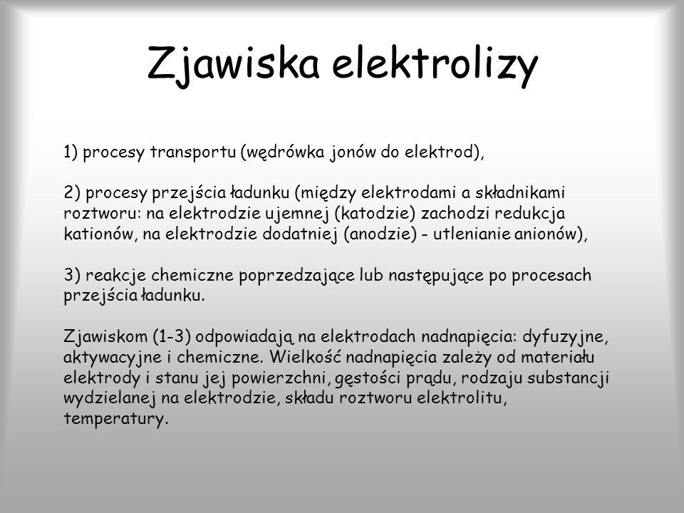 Zjawiska elektrolizy 1) procesy transportu (wędrówka jonów do elektrod),